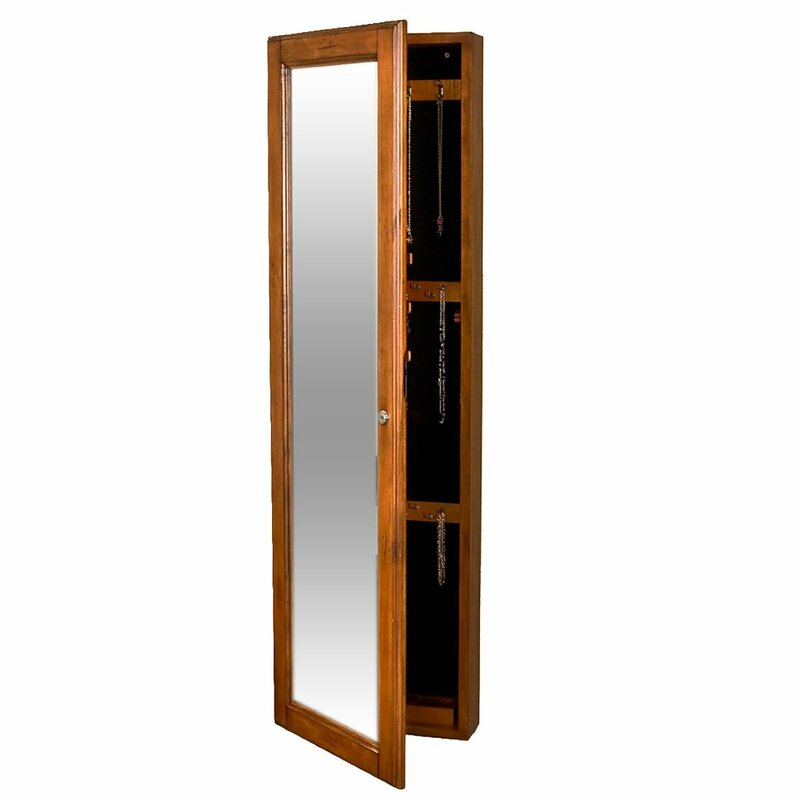 Wall Mounted Jewelry Armoire With Mirror alcott hill chauncey wall-mounted jewelry armoire with mirror