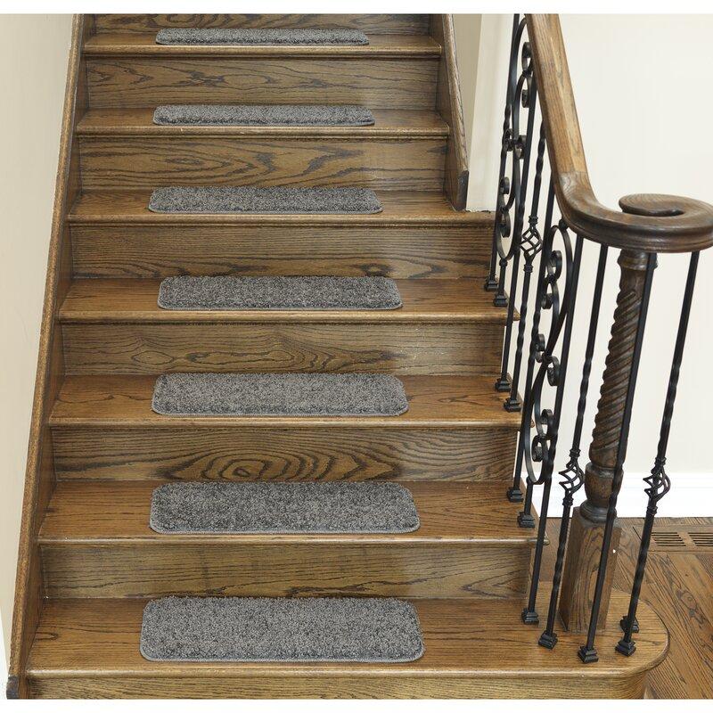 Soft Solid Non Slip Shag Carpet Gray Stair Tread