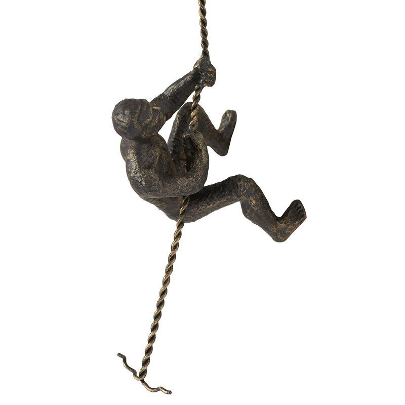Latour Metal Mounted Climbing Man Sculpture Wall Decor