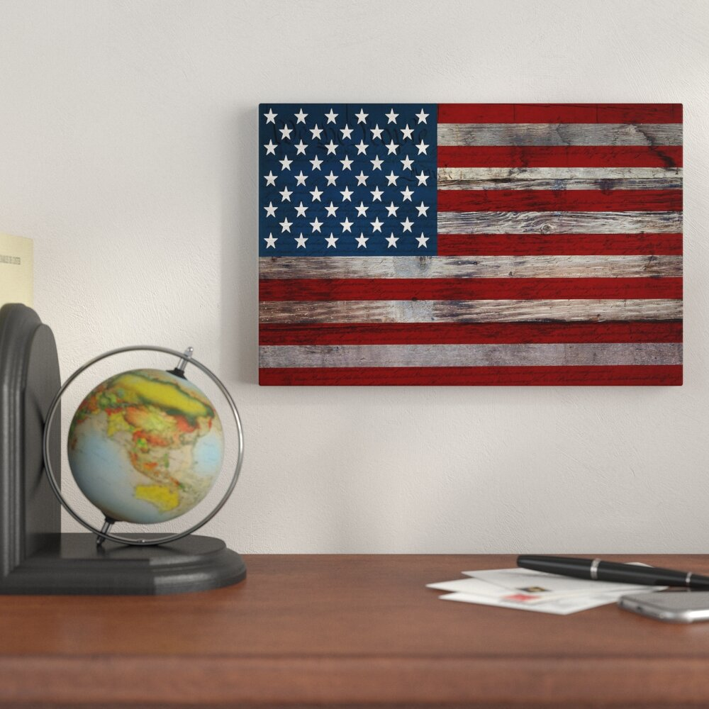 U S Constitution American Flag Wood Boards Graphic Art On Canvas
