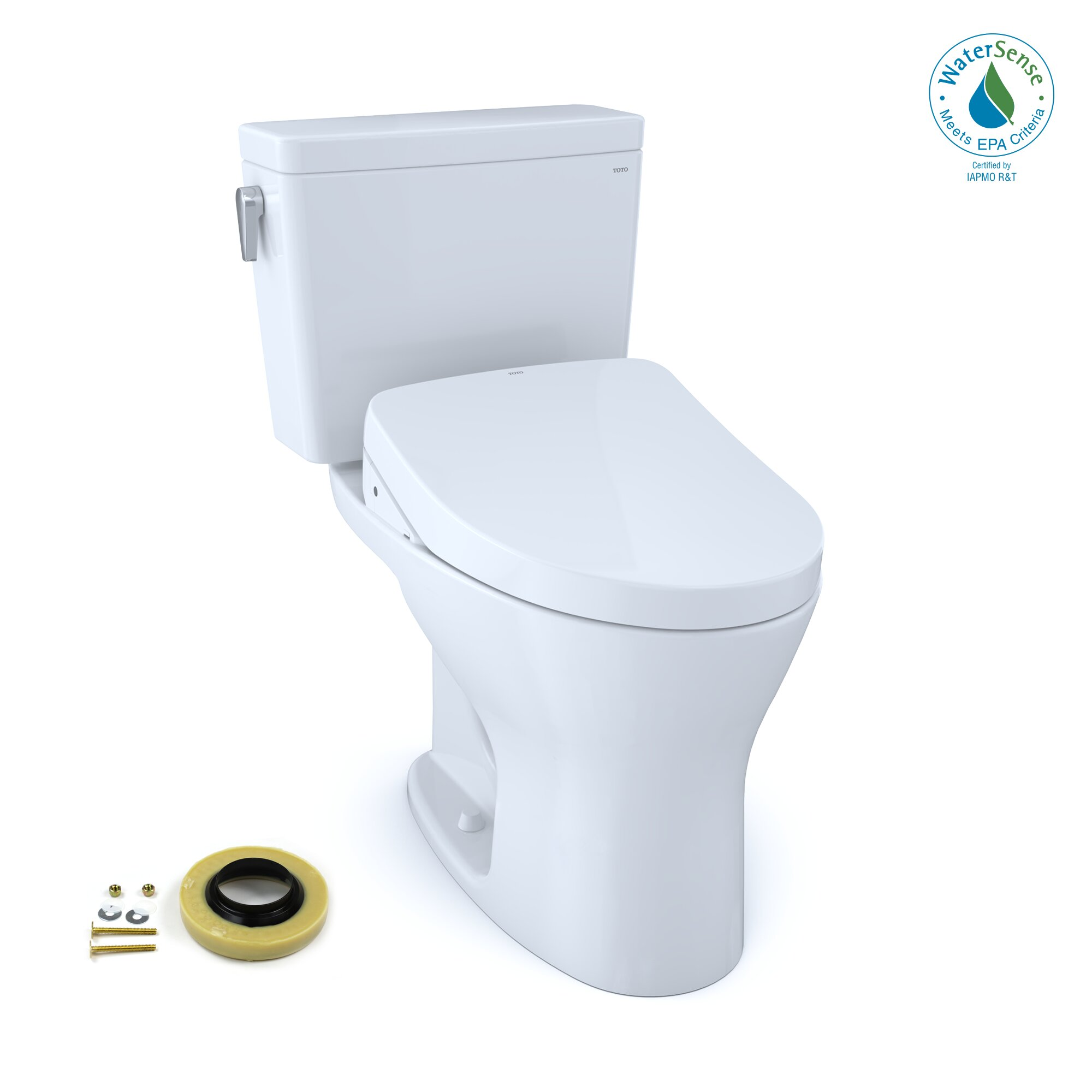 Superb Drake Dual Flush Elongated Two Piece Toilet With Bidet Seat Wax Ring And Toilet Mounting Bolts Pabps2019 Chair Design Images Pabps2019Com