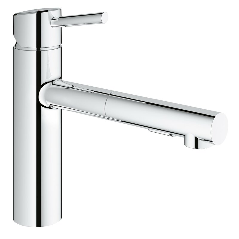 Concetto Single Handle Deck Mount Kitchen Faucet With Dual Spray Pull Out