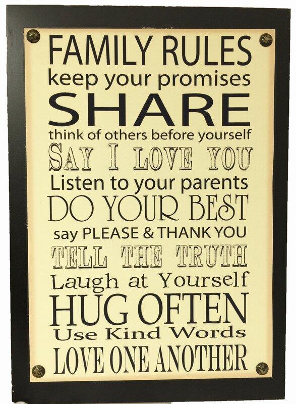 Family Rules Sign Wall Decor