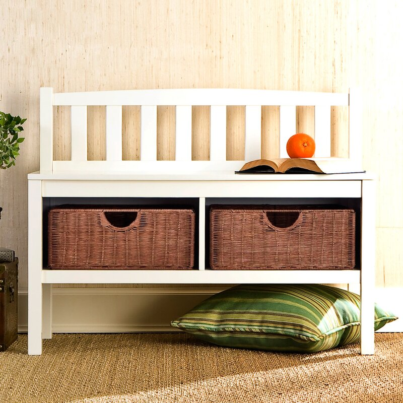 Offerman Wood Storage Bench With Rattan Baskets