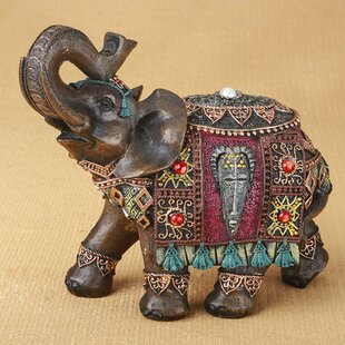 Mount Hope Elephant With Colorful Blanket And Headress Figurine