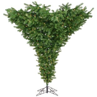 upside down 75 green artificial christmas tree with 650 dura lit clear lights with stand