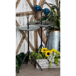 Knollcrest Modern Tripod Gray Round Tray Table