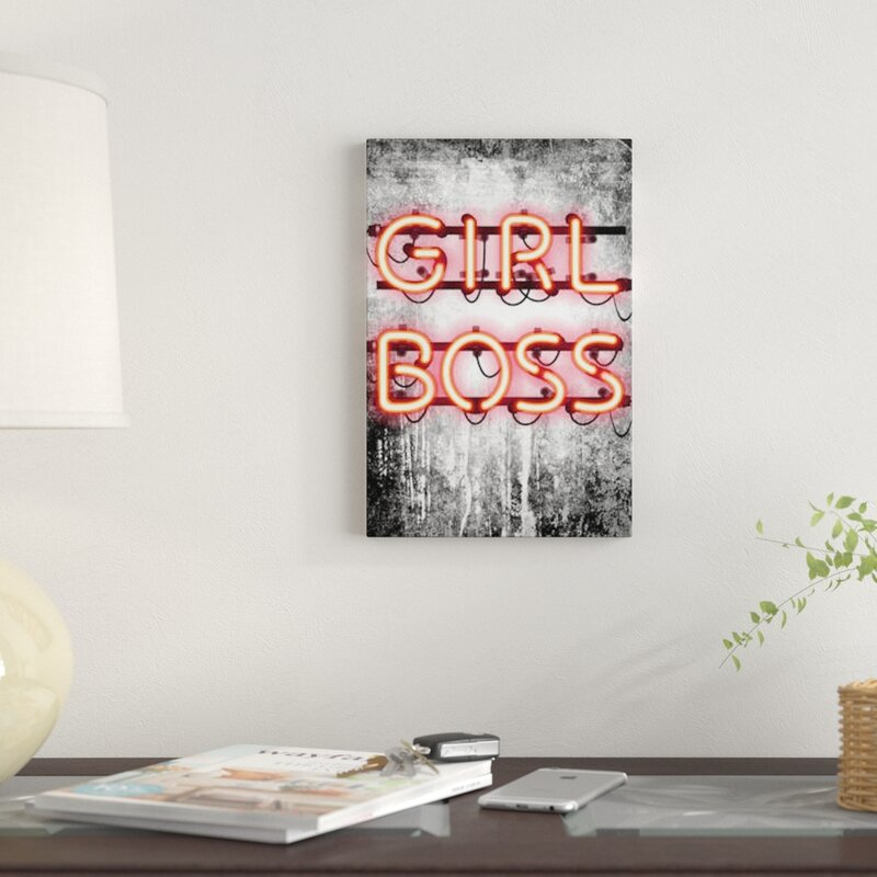 'Girl Boss Neon Sign' Print on Canvas