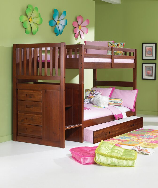 Mission Stair Step Twin Over Bunk Bed With Trundle