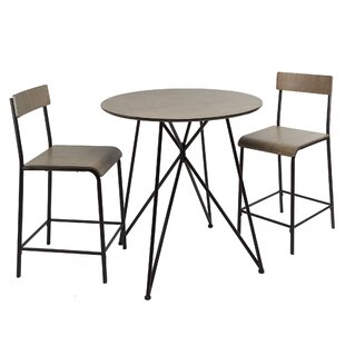 Mancilla Metal Wood 3 Piece Dining Set