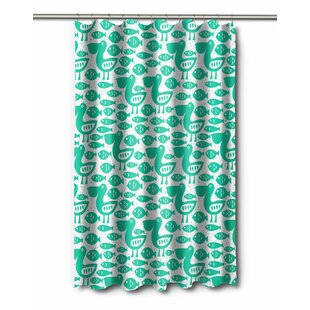 Charming Coastal Pelican U0026 Fish Shower Curtain