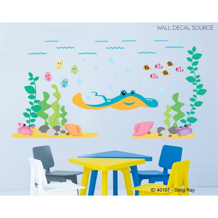 Ocean, Under the Sea, Fish and Sting Ray Vinyl Wall Decal