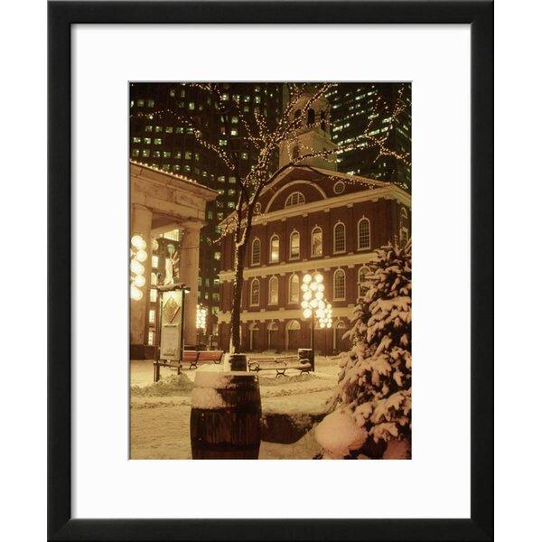 Winston Porter U0027Faneuil Hall At Christmas With Snow, Boston, MAu0027 Framed  Photographic Print   Wayfair