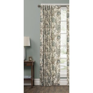 Desborough Jacobean Floral Room Darkening Rod Pocket Single Curtain Panel