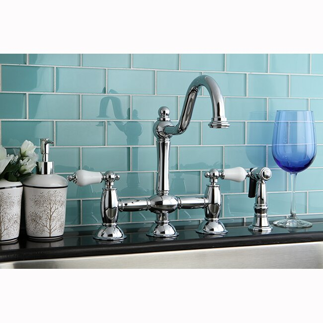 High Quality Restoration Double Handle Deck Mount Kitchen Faucet With Spray