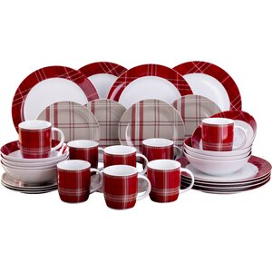 Highland Tartan 32 Pieces Dinnerware Set