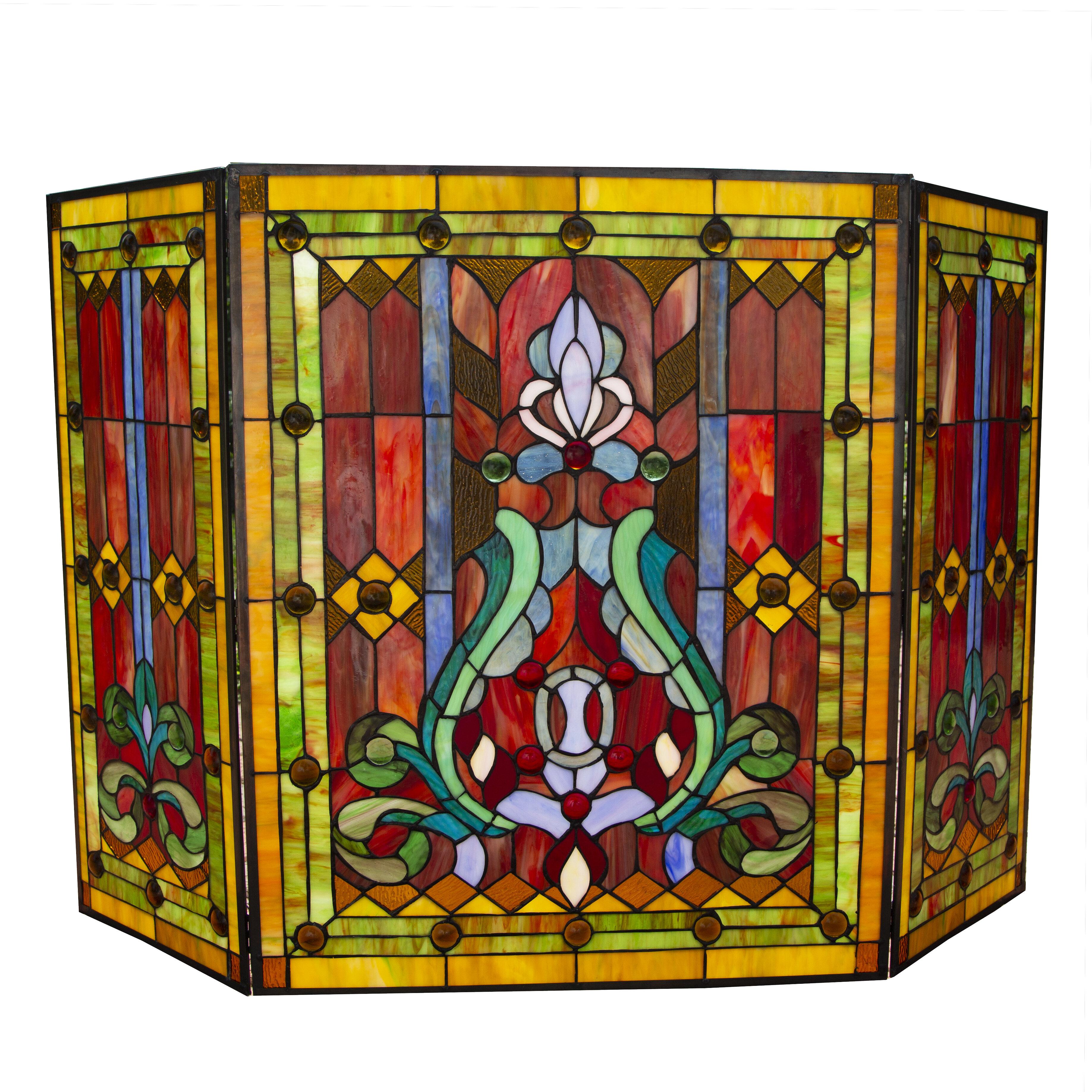 River Of Goods Fleur De Lis Tiffany 3 Panel Fireplace Screen Reviews Wayfair