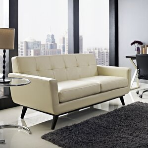 Saginaw Leather Loveseat by Corrigan Studio