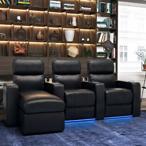 Modern Upholstered Leather Home Theater Sofa (Row of 3) by Red Barrel Studio