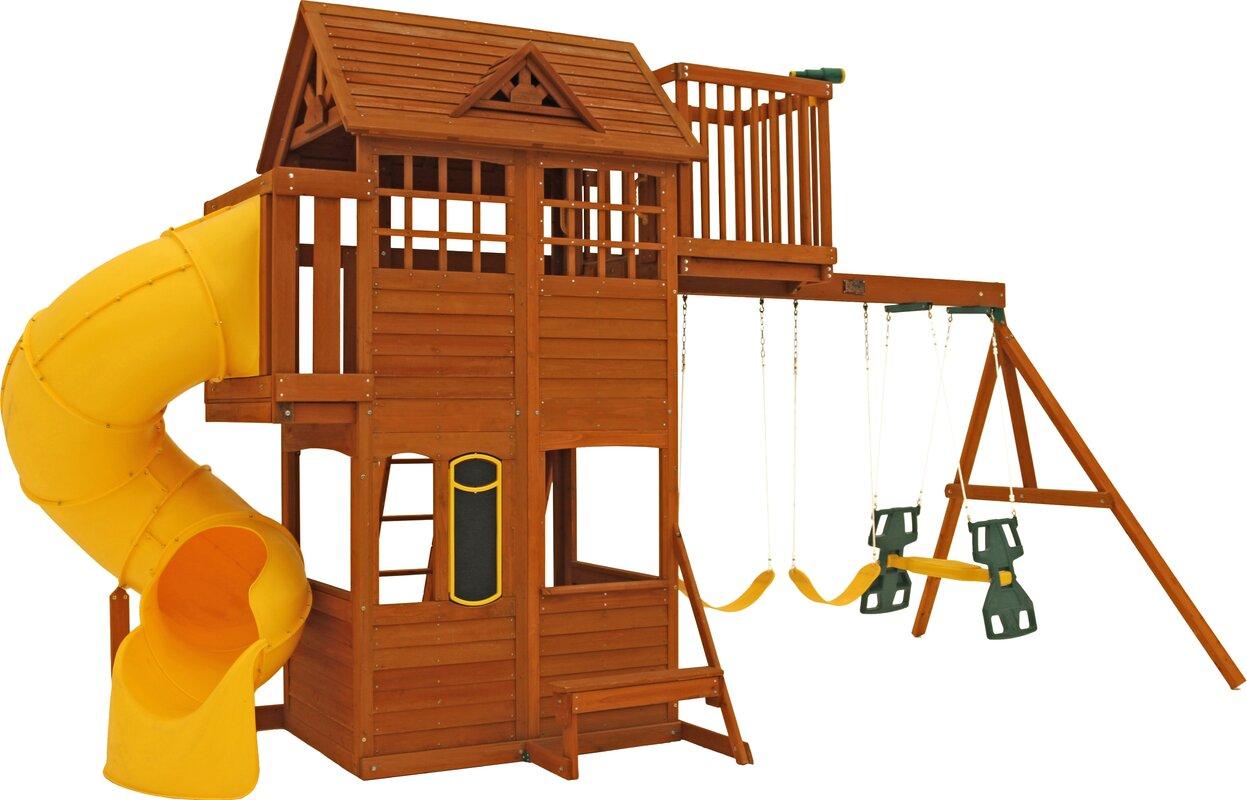 kids wooden swing sets wayfair