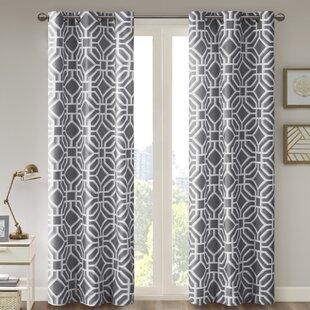 Keilen Geometric Room Darkening Grommet Single Curtain Panel