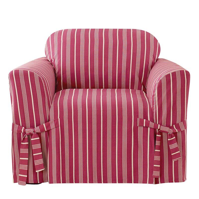 Grain Sack Stripe Box Cushion Armchair Slipcover