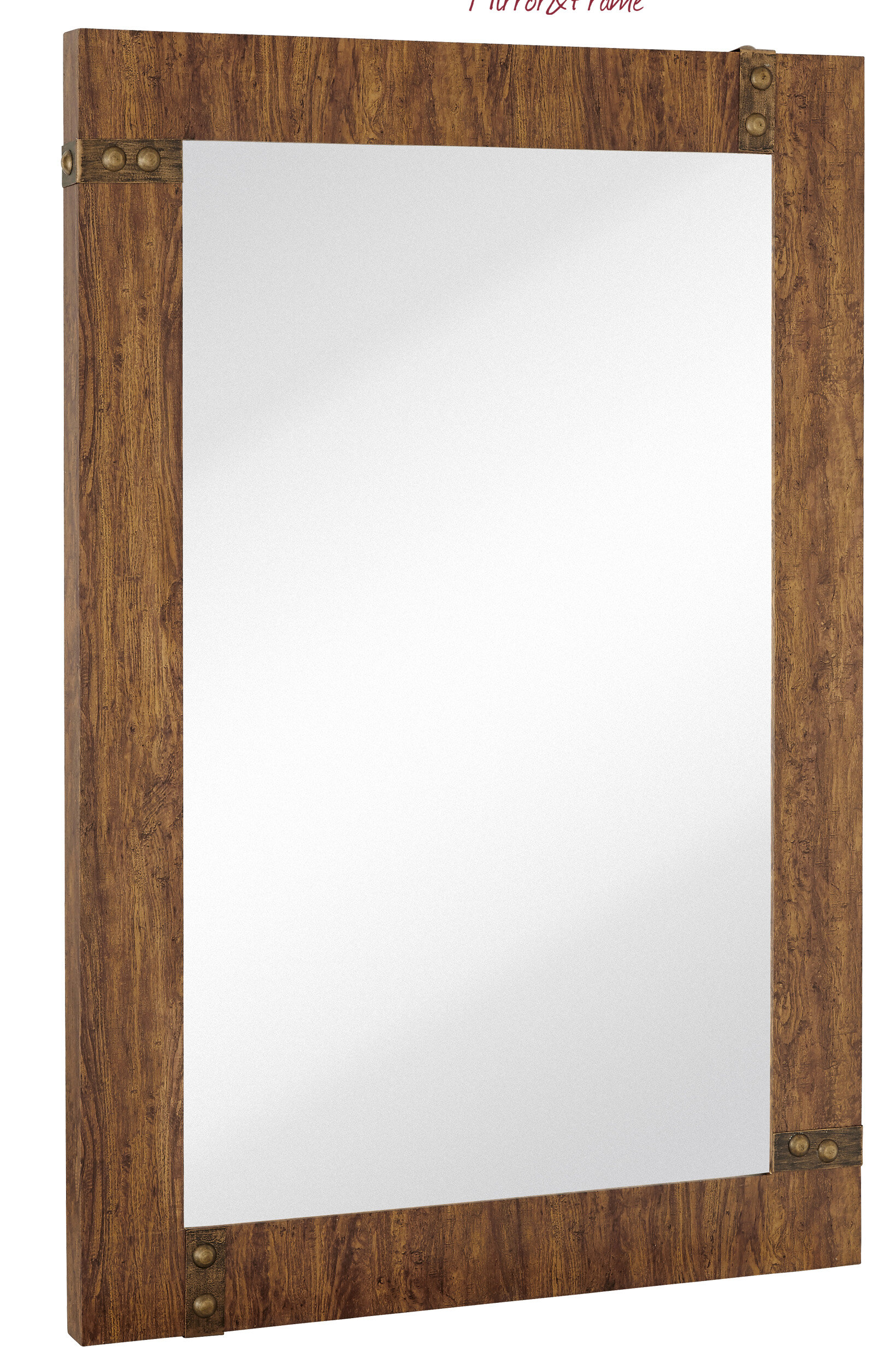 Majestic Mirror Large Rectangular Mirror with Stained Wood Frame and ...