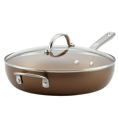 Porcelain Enamel Covered Deep with Helper Handle 12 Non-Stick Skillet with Lid Ayesha Curry Size: 12 Diameter, Color: Brown Sugar