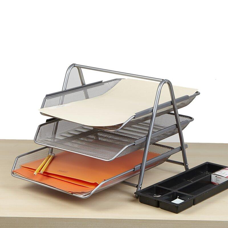 091e45ee7 Mind Reader 3 Tier Steel Mesh Paper Tray Desk Organizer & Reviews ...