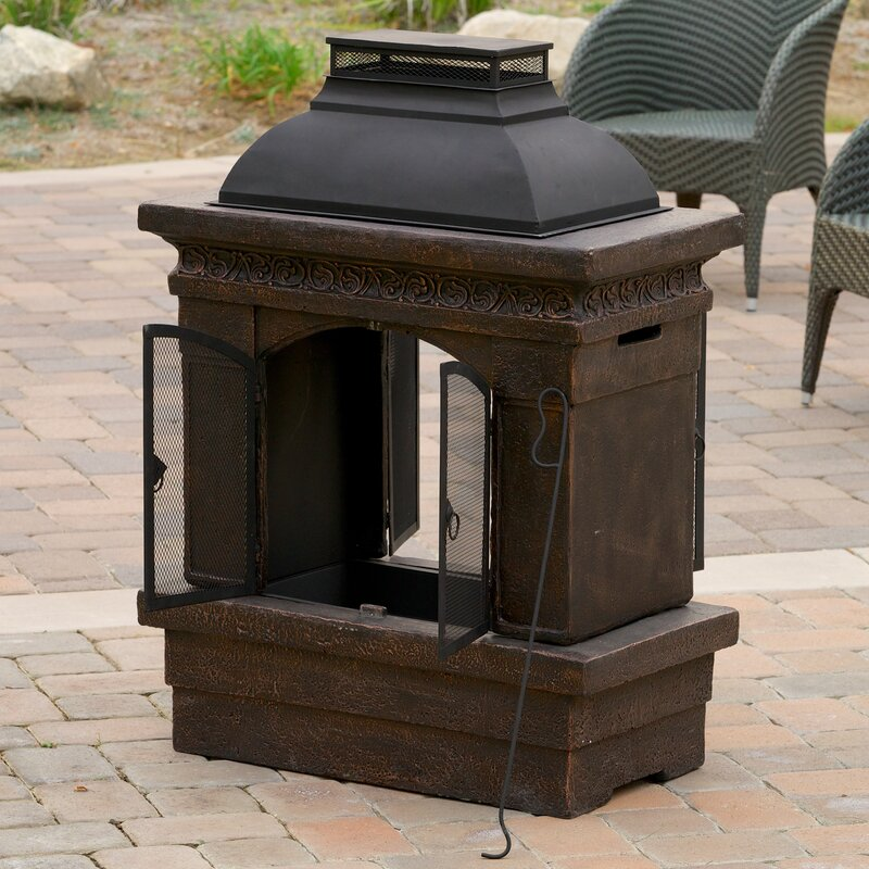 Barbados Cast Iron Wood Burning Outdoor Fireplace