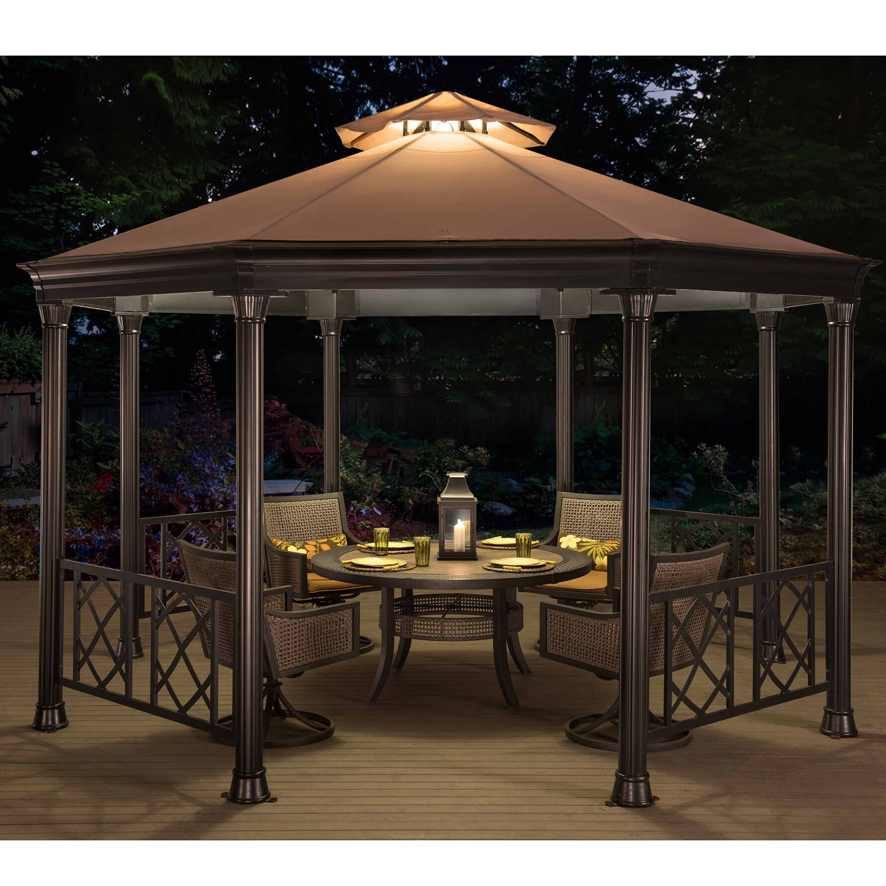 living outsunny gazebo mosquito netting aluminum patio w outdoor hardtop pole