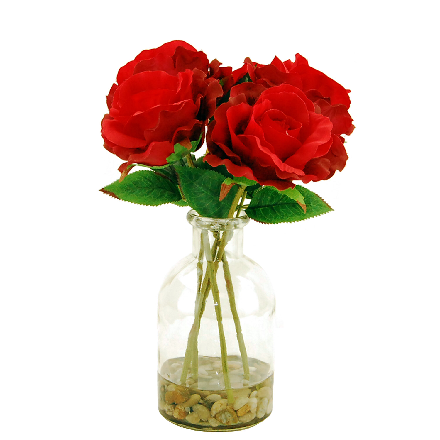 LCGFlorals Faux Roses in a Glass Vase with River Rocks and Faux ...