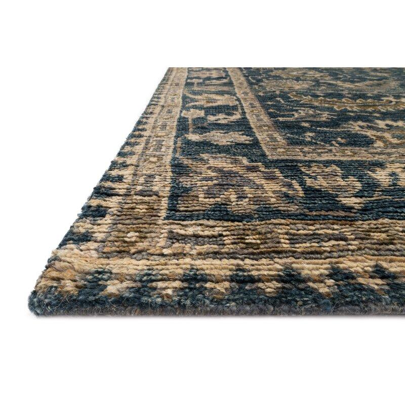 Alcott Hill Keister Hand-Knotted Indigo/Slate Area Rug, Size: Rectangle 86 x 116