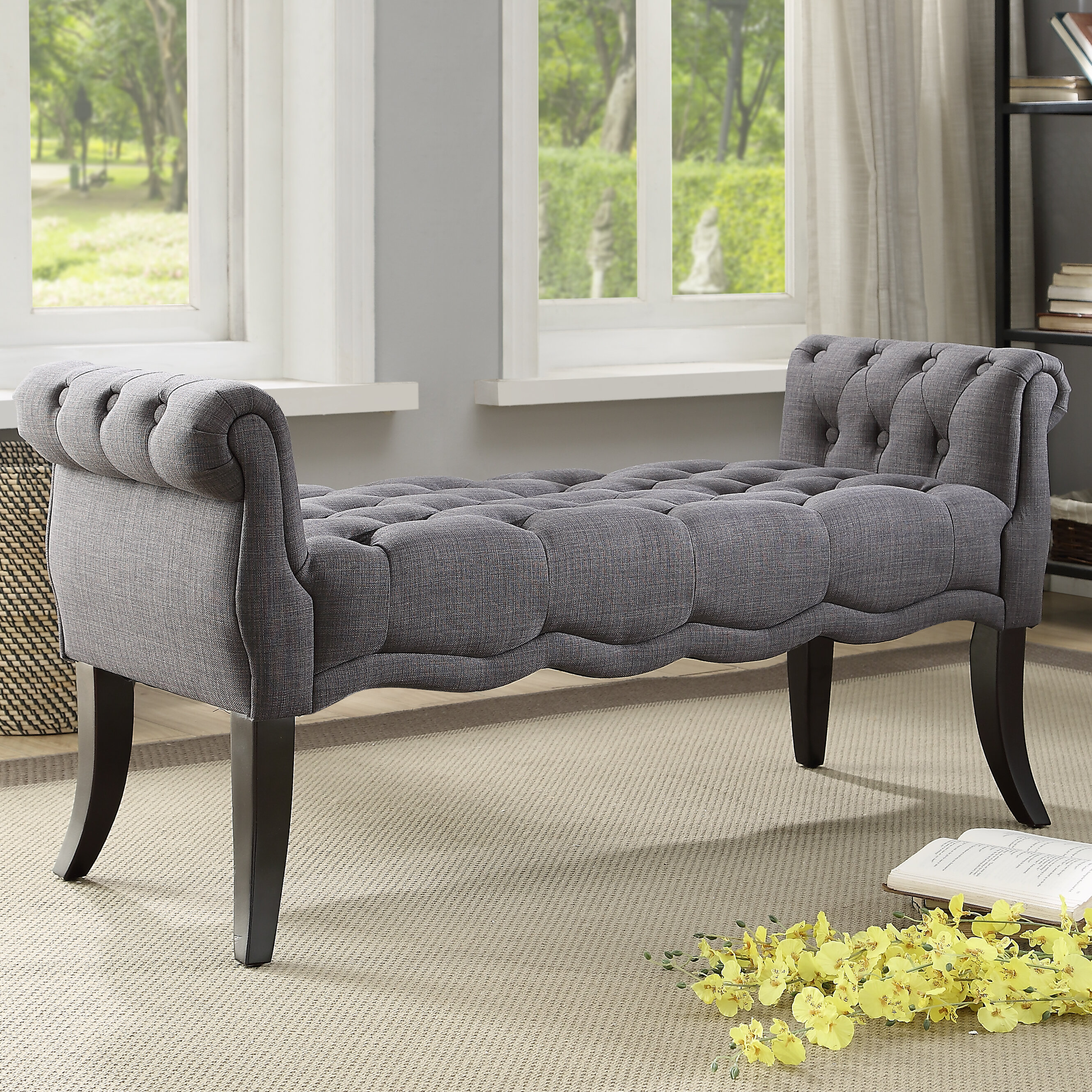Perfect Ophelia & Co. Campbell Traditional Roll Arm Upholstered Bench  WF32