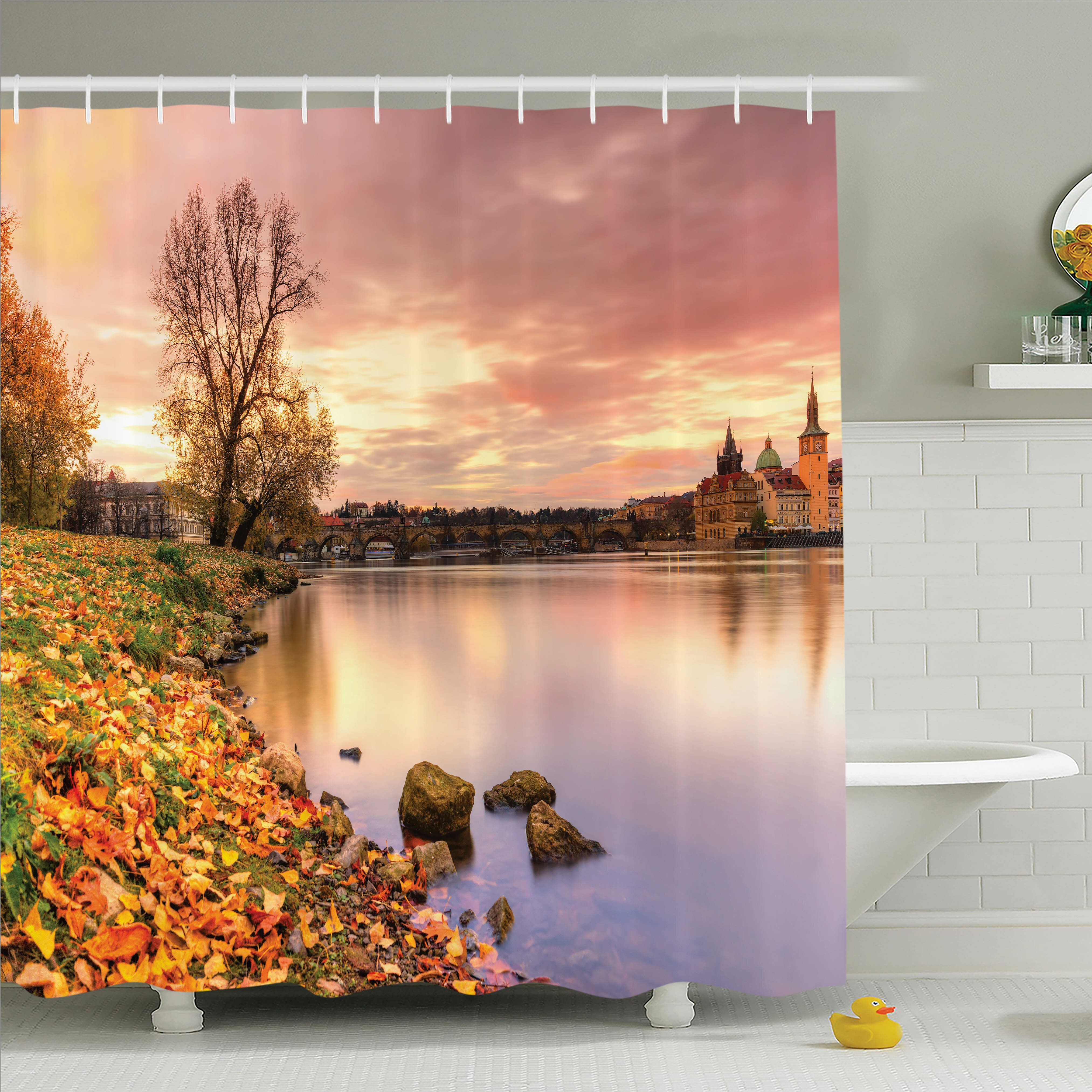 Latitude Run Tamekia Prague Riverside Autumn Shower Curtain Set ...