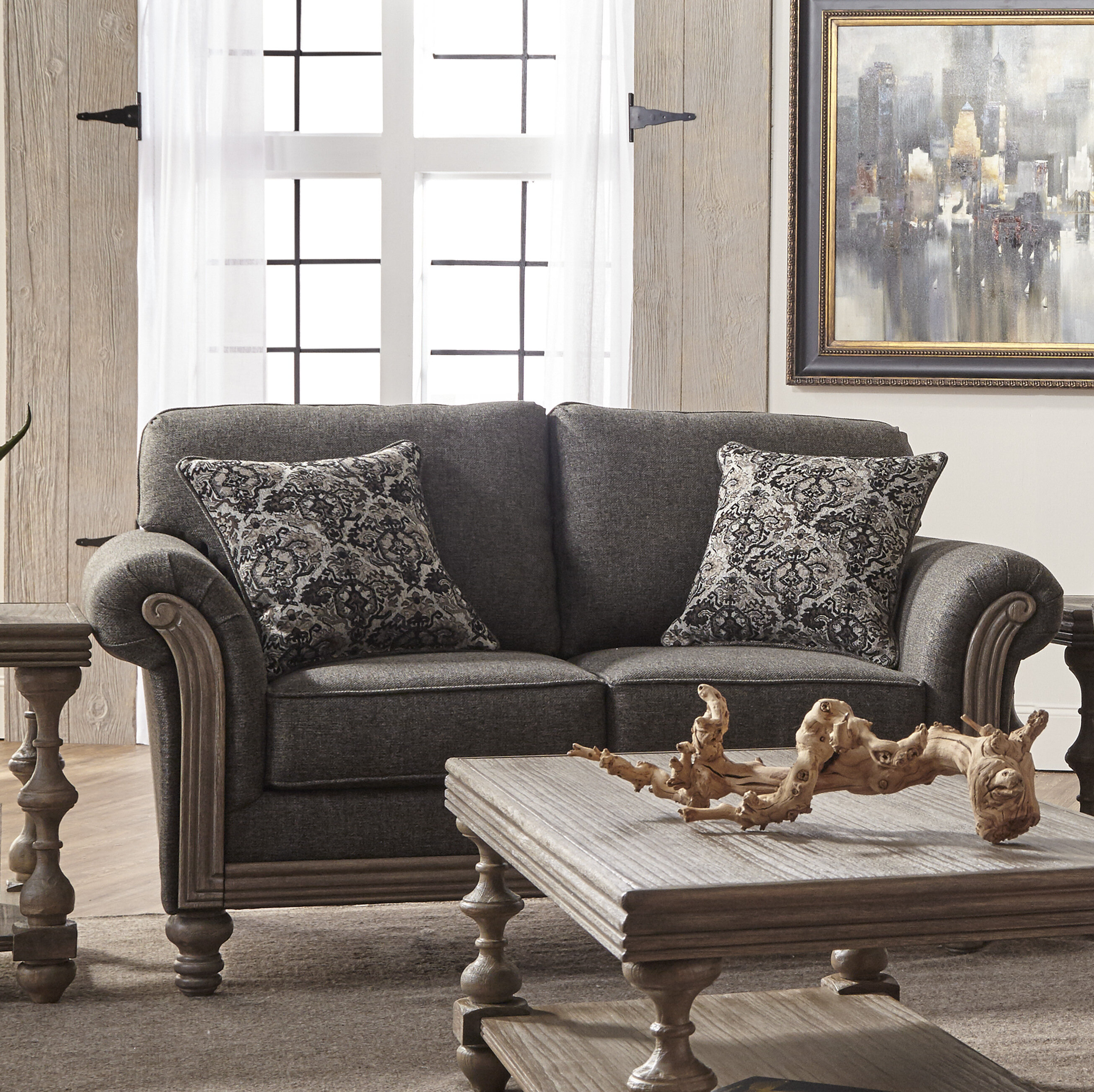 cushion lodge home loveseat lloyd taupe tufted product kathy wood frame detail kuo sofa industrial
