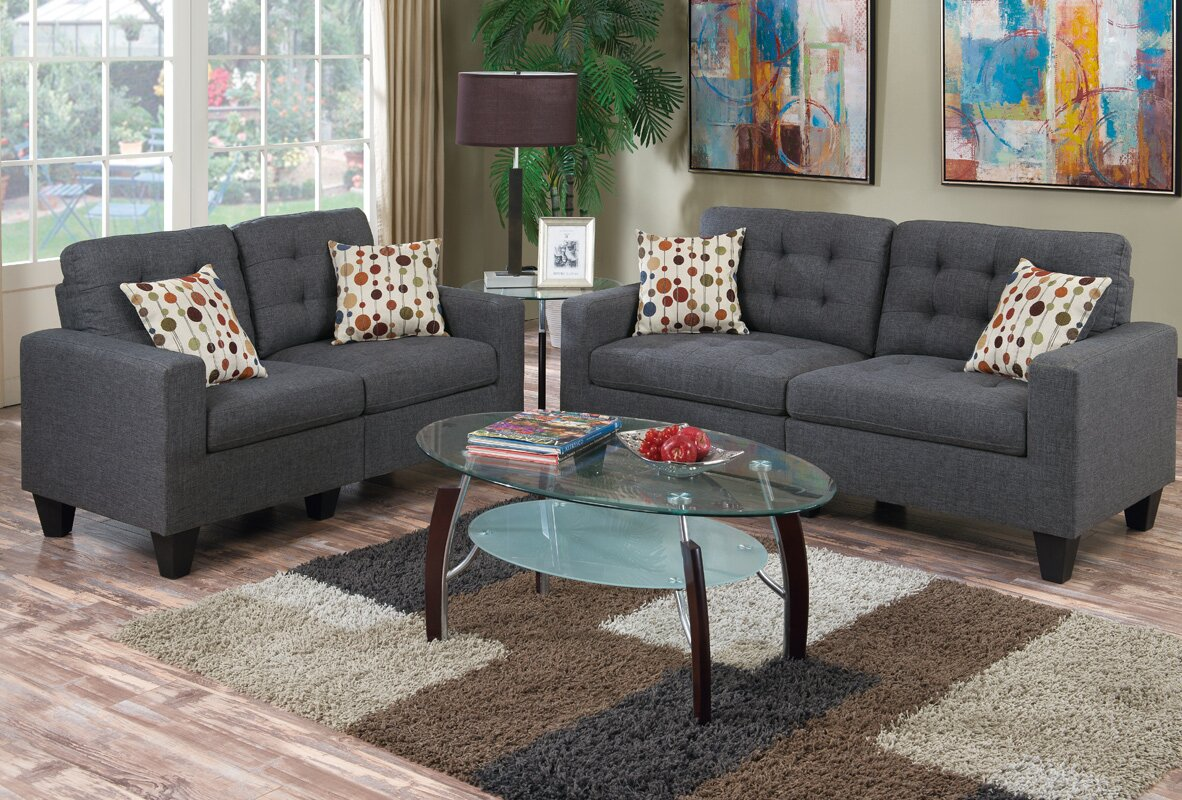 Stanton 3 piece living room set brown - Amia 2 Piece Living Room Set