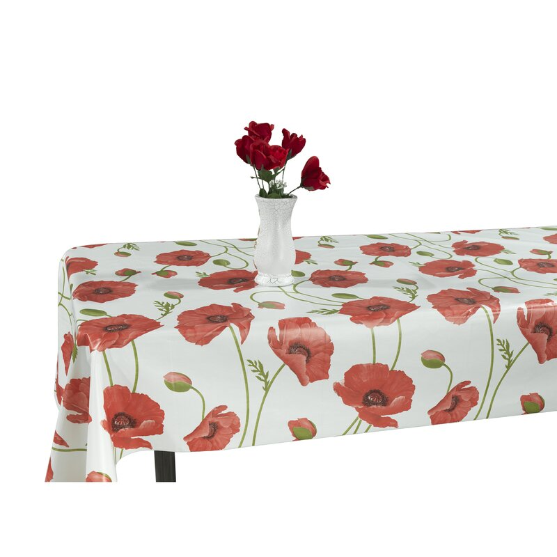 Berrnour Home Poppy Flower Vinyl Indoor/Outdoor Tablecloth & Reviews ...