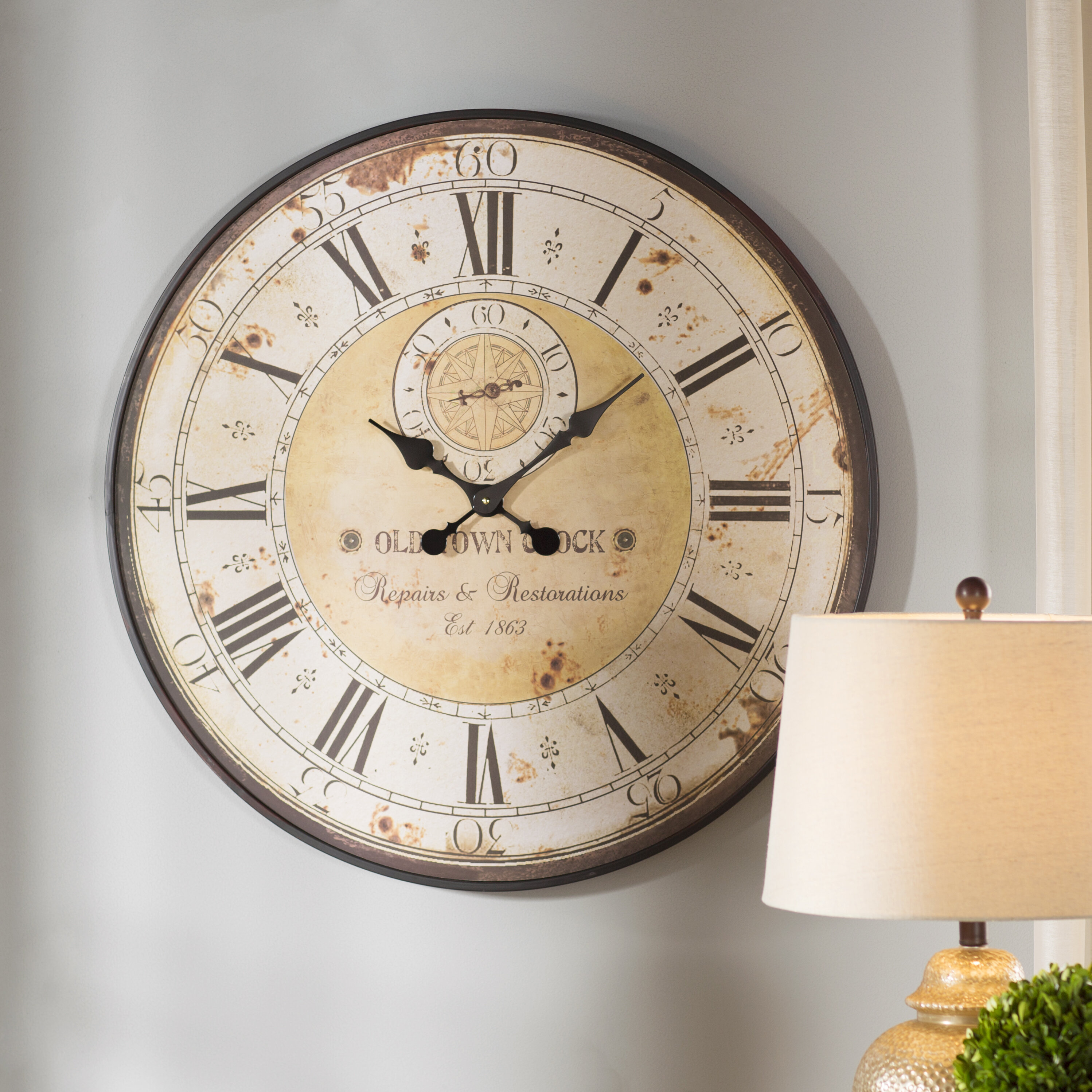 Darby Home Co Oversized 315 Round Metal Wall Clock Reviews Wayfair