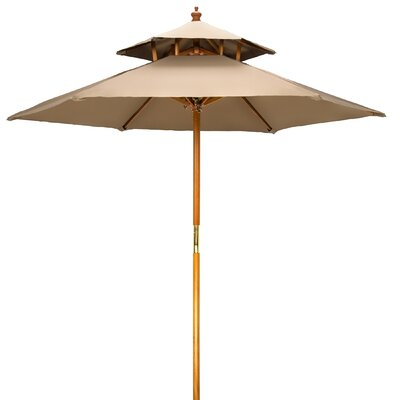 Ardencroft Wood 2 Tier Pagoda Style Patio 7u0027 Market Umbrella