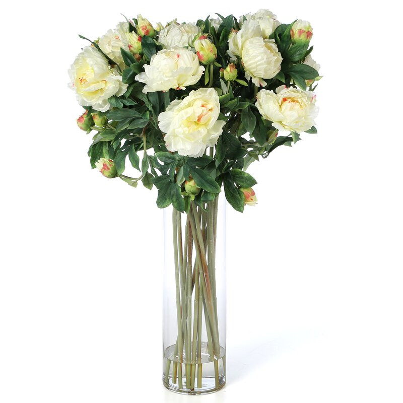 default_name - Nearly Natural Giant Peony Silk Flower Arrangement In White