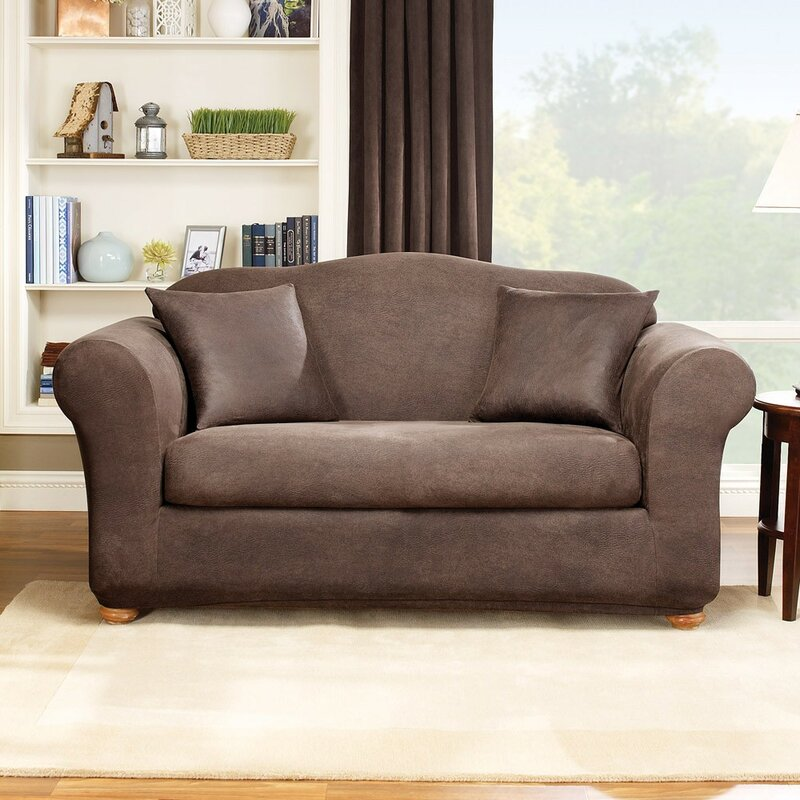 Exceptionnel Stretch Leather Box Cushion Loveseat Slipcover