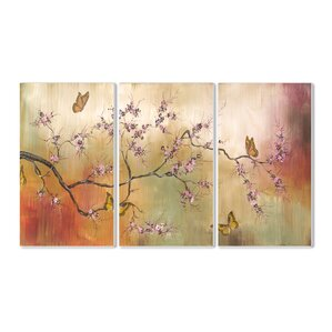 u0027pink blossoms and butterflies 3 piece painting print wall plaque set u0027