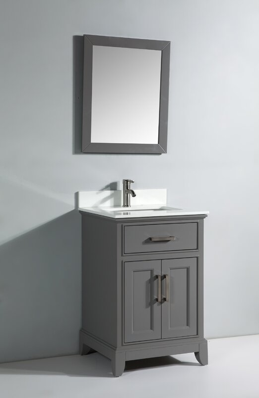 "24 Mirrored Bathroom Vanity vanity art 24"" single bathroom vanity set with mirror & reviews"