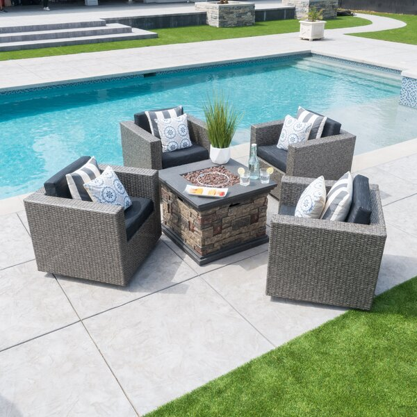 Burch Modern 5 Piece Conversation Set With Cushions