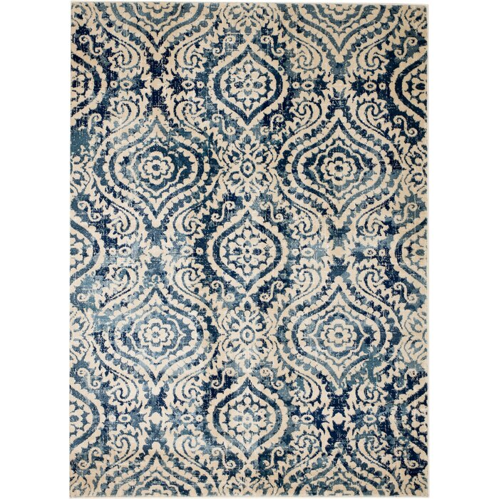Bungalow Rose Amy Royal Trellis Cream Blue Area Rug & Reviews