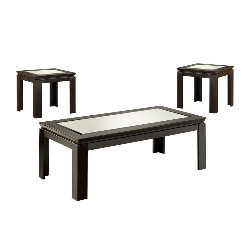 Next Coffee Table Set: Hokku Designs Nayom Mirrored 3 Piece Coffee Table Set