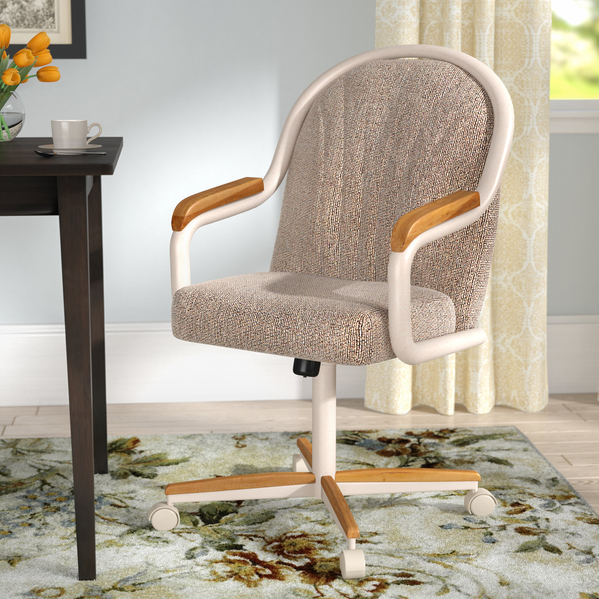 Red Barrel Studio Gentry Mid-Back Dining Caster Chair with Arms ...