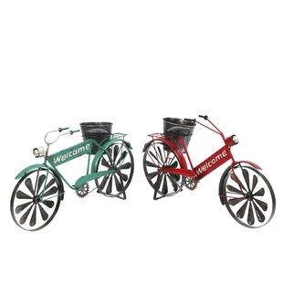 Superb Grullon 2 Piece Metal Bicycle Planter Set