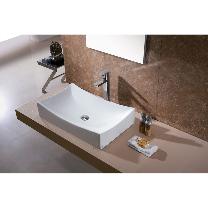 Luxier L001 Bathroom Ceramic Rectangular Vessel Bathroom Sink